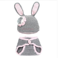 Baby Newborn Knit Crochet Handmade Clothes Photo Prop Outfits Rabbit 18009 Apparel & Accessories (Color: Gray) = 1745582020
