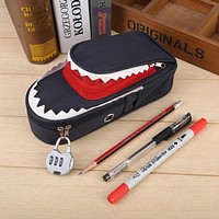 Pencil Bag Large Capacity Creative Shark Pencil Bag School Stationery Pen Case With Combination Lock Office Student Pen Bag