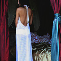 Backless White Lace Nightgown Halter Sheer Lace Bridal Sleepwear Wedding Lingerie Christmas Holiday Gift Fast Ship