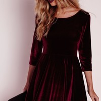 Missguided - 3/4 Sleeve Velvet Skater Dress Oxblood