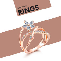Delicate NEWBARK Finger Ring Flower 18k Rose Gold and White Gold plated Zirconia Jewelry Tiny Diamond Paved For New Year gifts