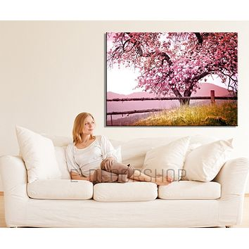 Large Wall Art Cherry Blossom Canvas Print Large Canvas Print Almond Tree Hang Ready Custom