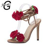 Red Flower Women Shoes Lace Up Summer High Heels Shoes Wedding Party Women Pumps zapatos mujer 2017 Gladiator Sandals Ladies