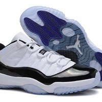 Air Jordan 11 Low AJ11 White/Black/Blue Basketball Sneaker Size US 8-13