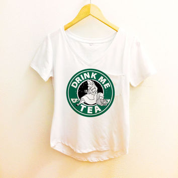 Drink Me Tea Starbucks Shirt - Alice in Wonderland Pocket Tee Sleeve Polyester Thin Shirt Women - Disney Tumblr S, M, L, XL. XXL