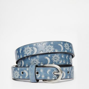 ASOS Waist And Hip Belt With Sun and Moon Embossing at asos.com
