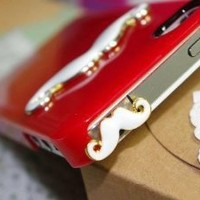 Cute Mustache 3.5mm Earphone Jack Dustproof Plug Ear Dust Cap for iPhone 5 4 4S