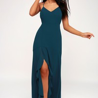 Luxurious Love Navy Blue Lace-Up Maxi Dress