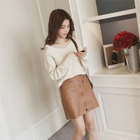 New Fashion Fall Winter Women High Street All-match Knitted Loose Shoulder Straps V-neck Solid Knitwear Ladies Pullovers Sweater