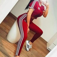 """""""ADIDAS"""" Stripe White Edge Sports Suit two piece Suit Red"""