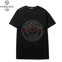 Versace New fashion diamond human head print women top shirt Black