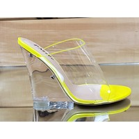 "Kariden Slide Clear Yellow Acrylic 4.5"" Wedge Slip On High Heel Shoes 7-11"