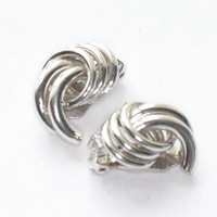 Swirled Dimensional Earrings Silver Tone Bergere Designer Vintage Clip On Mid Century Jewelry