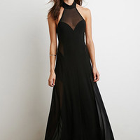 Mesh-Paneled Halter Maxi Dress