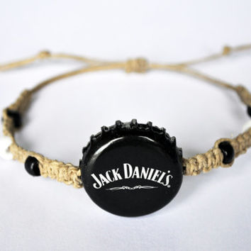 Jack Daniels Hemp Bracelet, Recycled Beer Cap, black and white, hemp jewelry, whiskey lover, unique jewelry, party accessory