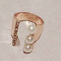Lined Pearl and Rhinestone Cuff Ring (Slightly Adjustable) - LilyFair Jewelry
