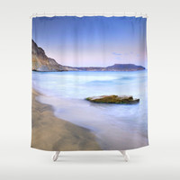 Plomo beach at sunset Shower Curtain by Guido Montañés