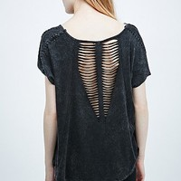 Free People Rip Embellish Trash Tee in Washed Black - Urban Outfitters