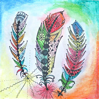 Feather Print - Feather Wall Art - Feather Painting - Bohemian Decor - Bohemian Art - Boho Decor - Boho Art - Zentangle Art