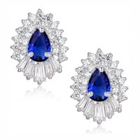 Blue Teardrop and Clear Baguette and Round Cubic Zirconia Stud Earrings