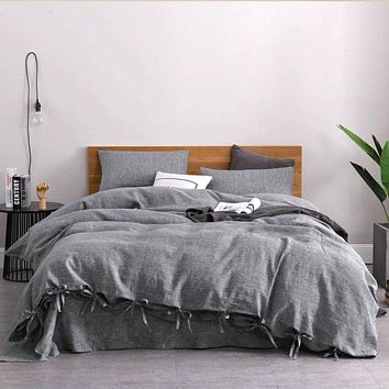 Solid Chambray Linen 4 Piece Sheets Set in 11 Colors