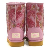 UGG Women Fashion Flower Wool Snow Boots Half Boots Shoes-1