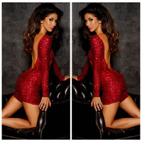 Red Long Sleeve Back Cowl Sequined Bodycon Midi Dress