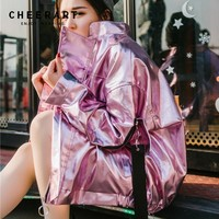 Cheerart Hip Hop Oversized Silver Jacket Women Pu Leather Glitter Loose Coat Streetwear Clothing Big Size Jackets Rock Punk Coat