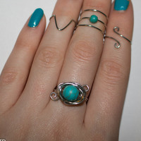 Midi Ring & Wire Wrapped Turquoise and Silver Ring Set.