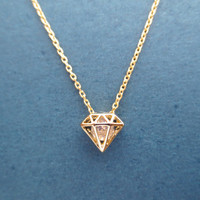 Gold/ Silver, Cubic, Diamond, Necklace