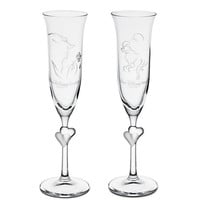 Disney Beauty and the Beast Glass Flute Set by Arribas - Personalizable | Disney Store