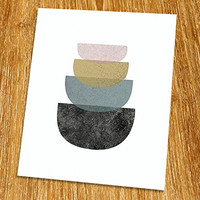 "Modern Art Print (Unframed), Geometric Art, Abstract Art Poster, Mid-century Art, Cafe, Industrial, Loft, Bowl Art, Kitchen Art Print, 8x10"", TD-011"