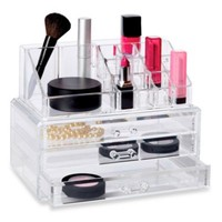 Clear 19 Compartment Cosmetic Organizer with Drawers