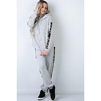 Heather Grey and Leopard Jogger Set