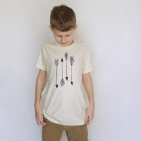 Arrows Kids Short Sleeve Organic Tee in Natural - Size 10 Years