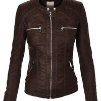LL WJC663 Womens Removable Hoodie Motorcyle Jacket S COFFEE