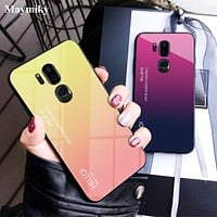 Translucent Gradient Tempered Glass Case For LG G7 G 7 ThinQ