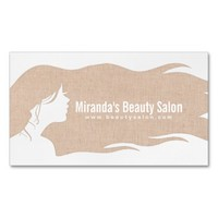 Natural Linen Long Hair Makeup Artist Hair Stylist Business Card