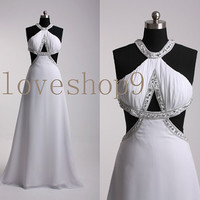 Long White Beaded Halter Chiffon Prom Dress Evening Party Homecoming Bridesmaid Cocktail Formal Dress New Arrival Lovely Bridesmaid Dress