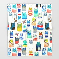 Lots of Watercolor Kitty Cats Throw Blanket by TigaTiga Artworks   Society6