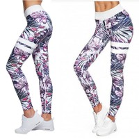 Pink and Purple Hibiscus and Tropical Fern Long Yoga Pants / Leggings