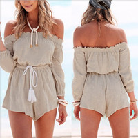 Off Shoulder Drawstring Beach Romper  B0013970