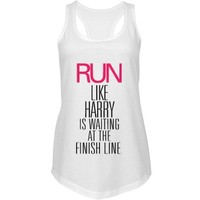 Run Harry Finish Line: Custom Junior Fit Next Level Racerback Terry Tank Top - Customized Girl