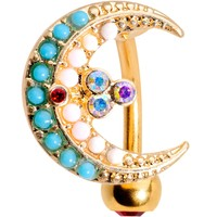 Aurora Gem Gold Tone Plated Crescent Moon Top Mount Belly Ring