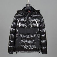 Valentino Warm Winter Down Jacket Windproof Hooded Collar Men's Parka Male Big Coat Smart Casual Covered Button