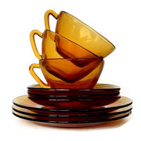Amber Glass Coffee Cups, Saucers, Plates, Vereco, France, Mid Century Tea