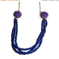 20% OFF Purple and Silver Beaded Floral Necklace