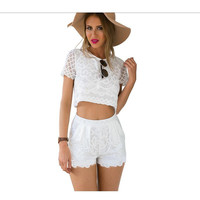 Casual Lace Two Piece White Romper