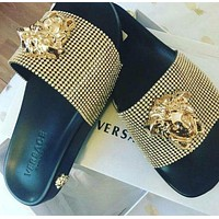 Versace Women Fashion Casual Slipper Shoes golden