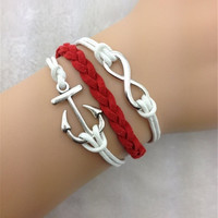 Vintage anchor word fashionable bright beautiful colour deserve to act the role of hand knitting leather cord bracelet Christmas 8 = 1929984132